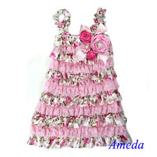 Crystal Rosettes Light Pink Rose Cream Lace Pettidress Party Dress Pearl 6M-5Y