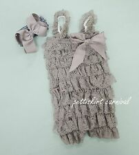 Newborn Baby Girls Gray Silver Lace Petti Rompers Straps Bow Headband 2pc NB-3T