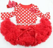 Red Pettiskirt Xmas Bow Minnie Mouse Dots Long Sleeves Top Headband 3pcs 1-7Y