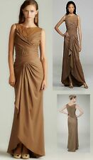 NWT $388 Tadashi Shoji 3I814L Smoked Pearl Crepe Back Satin Draped Gown Dress