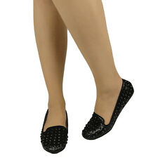New Women Slip On Glitter Loafers Studded Spikes Comfort Flat Black Size 5.5-10