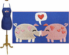 "Pink Piggy Pigs Pig Pair & Hearts 24"" or 30"" Kitchen Chef or Artist Smock Apron"