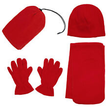 Soft Men Women 3 Pieces Fleece Solid Beanie Hat Gloves Scarf Set Winter Set