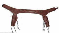 .22 22 Drop Loop Gun Belt DOUBLE Holster Rig Tooled Leather Size 32-52 NEW