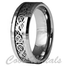 8mm Dragon Tungsten Carbide Celtic Ring Jewelry Wedding Band Silver Size 7 -15