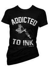 Cartel Ink ADDICTED TO Tattoo Women's 100% Cotton Crew Neck Black T-Shirt SM-XL