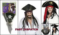 Pirate Accessory Hat Set Kit Captain Jack Hook Carribbean Skull Crossbone Unisex
