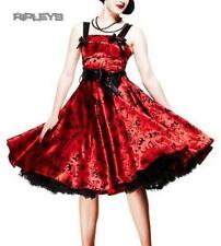 HELL BUNNY Red TATTOO FLOCK Prom Party DRESS All Sizes