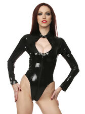 Latex Rubber Long Sleeved Keyhole Body Top Leotard Black All Sizes | Sexy Fetish