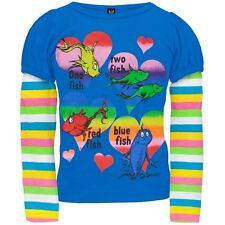 """Dr. Seuss Girl's """"One Fish Two Fish"""" Rainbow Long Sleeve Shirt- Sizes 2T-4T"""