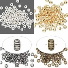 100 Bright Silver Gold Antiqued 4.5mm Corrugated Heishi Rondelle Spacer Beads