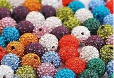 Top Quality Shamballa 10mm Clay Crystal Rhinestone Pave Round Disco Ball Beads