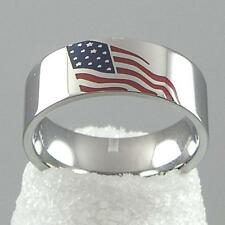 American USA Flag Americana Stainless Steel Silver Ring Stars Stripes USA Seller