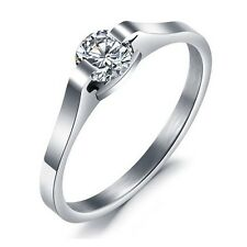 R097 Titanium Steel Promise Ring Crystal+Lover Gift Heart-shaped ring box