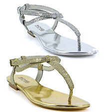 Michael Kors Womens JessieThong Silver or Gold Metallic Flat Ankle Strap Sandals