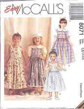 8071 UNCUT Vintage McCalls SEWING Pattern Girls Jumper Sundress Blouse EASY OOP