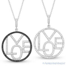 Love Word Micro-Pave CZ Crystal Circle Pendant Chain Necklace in Sterling Silver
