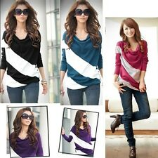 Hot Women Fashion Long Sleeve Lady's Batwing Casual T-Shirt Stripe Blouse Tops J