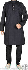 MENS EMBROIDERED SELF PRINT INDIAN PAKISTANI BLACK/WHITE KURTA PYJAMA SUIT,XS~XL