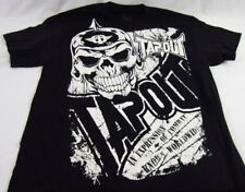 Mens NEW Tapout Wrestling Black Skull Distressed Logo Graphic Shirt Size M L