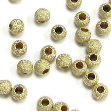 14K Gold Filled Round Stardust Seamless Spacer Bead Many Size