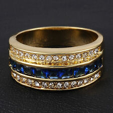 Jewelry Size 8-13 Classic Mens Sapphire 10KT Yellow Gold Filled Band Ring