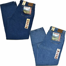 Wrangler Jeans Mens Rugged Wear Relaxed Fit Vintage Indigo Antique