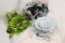 Originals, Floral Flowers Ostrich Feather Hair Clip or Brooch Pin Blues, Greens
