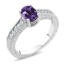 0.75 Ct Oval Purple Amethyst Gemstone 925 Sterling Silver Engagement Ring
