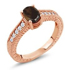 1.05 Ct Oval Brown Smoky Quartz 18K Rose Gold Plated Silver Ring