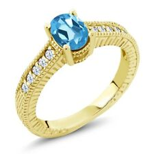 1.10 Ct Oval Swiss Blue Topaz 18K Yellow Gold Plated Silver Ring