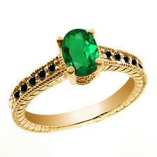 0.93 Ct Oval Green Simulated Emerald Black Diamond 14K Yellow Gold Ring