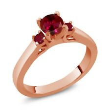 0.84 Ct Round Red Created Ruby Ruby 14K Rose Gold 3-Stone Ring