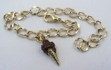 Gold Tone Bracelet with Gold tone Ice Cream Cone Hand Painted Chocolate