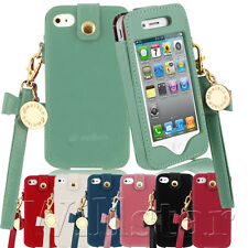 MELKCO  LEATHER BOW CHAIN LADY POUCH CASE COVER FOR IPHONE 4G 4S + SCREEN GUARD