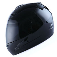 NEW Motorcycle Bike Full Face Helmet Glossy Black + Two Visors: Clear & Smoked