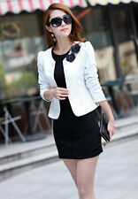 Lady's Flowers Tops Double-Breasted Suit Puff Sleeve Jacket Short & Cropped Coat