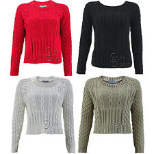 A65 LADIES KNITTED CABLE KNIT JUMPER WOMENS LONG SLEEVE KNITTED JUMPERS
