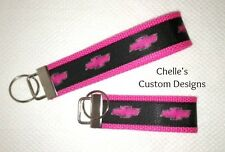 Chevy Hot Pink with pink bow tie key chain/ key fob *CHELLE* Makes a great gift!
