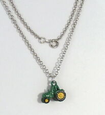 Hand Painted  in Green 3D Farm Tractor - Pewter Pendant on Link Style Necklace