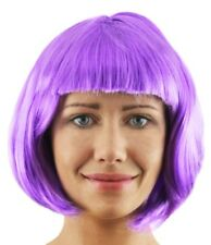 LADIES PURPLE BOB WIG WITH FRINGE 1920'S FLAPPER FANCY DRESS FASHION BABE HAIR