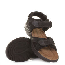 MENS BLACK LEATHER SUEDE VELCRO STRAP OUTDOOR WALKING SANDALS SHOES SIZE 6-12