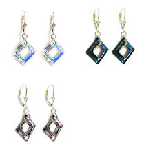 Square Frame  Leverback Dangle Drop Earring madew/ Swarovksi Crystal Element