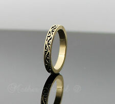 ANTIQUE YELLOW GOLD PLATED STACKER SWIRL MENS WOMENS GIRLS BOYS ENGAGEMENT RING
