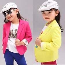 Kids Girls Cotton Slim Fit Jackets Suits Candy Color Casual Blazers Outfits 2-7Y