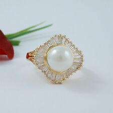 GOLD EP SIMULATED PEARL CUBIC ZiRCONIA COCKTAIL RING SIZE 5 6 7 8 9