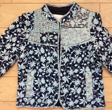 ANTHROPOLOGIE Starflower Quilted Jacket By Leifsdottir NWT Blue Motif Color