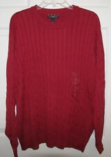 NWT CLUB ROOM MENS CABLE CREW NECK SWEATER  RED CHILI   $70