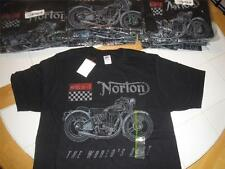 NORTON Motorcycles T-Shirt MODEL ES 2 Biker BLACK Mens BRAND NEW Slim Fit S M
