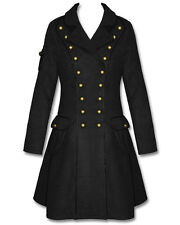 Hell Bunny Imma Black Copper Steampunk Military Army Victorian Goth Jacket Coat